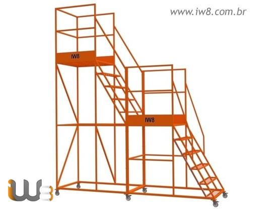 Escada Plataforma Dupla com Rodas