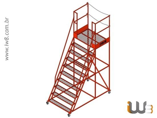Escada Plataforma Industrial 9 Degraus