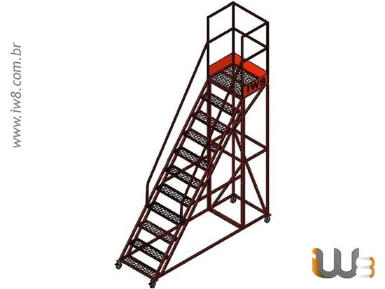 Escada Plataforma Industrial com 10 Degraus