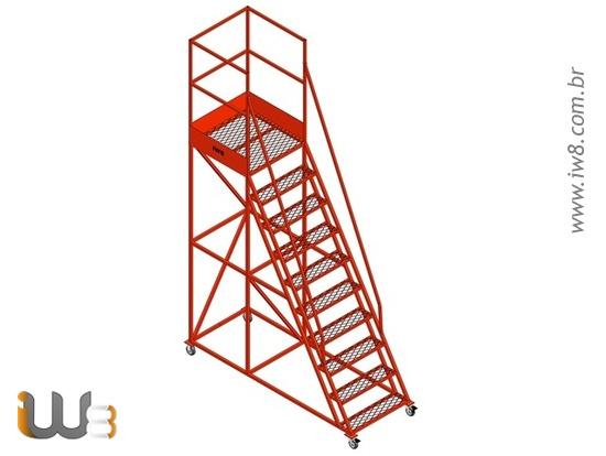 Escada Plataforma Industrial com 9 Degraus e Rodas