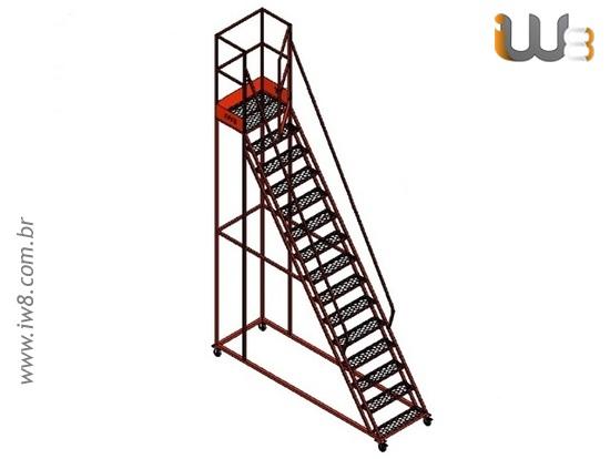 Escada Plataforma  Industrial com Rodas