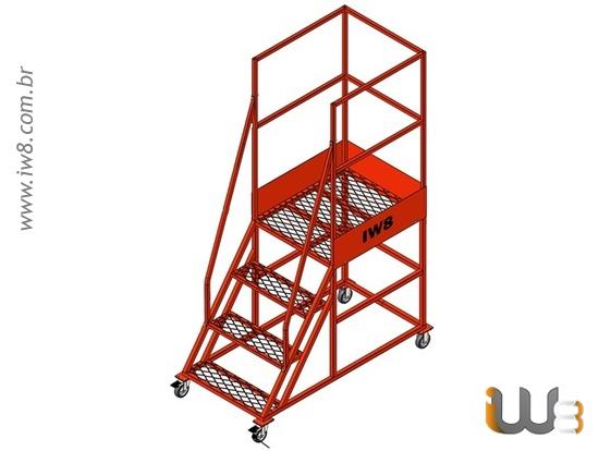 Escada Plataforma Industrial com Rodízio