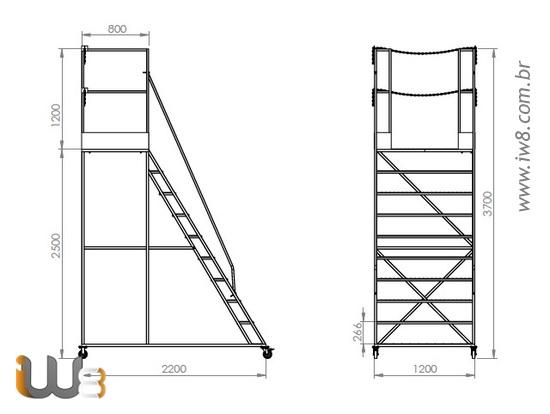 Escada Plataforma Industrial Nr