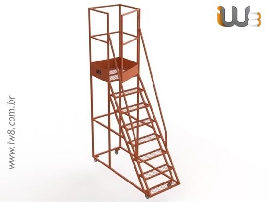 Escada Plataforma para Almoxarifado com Rodas