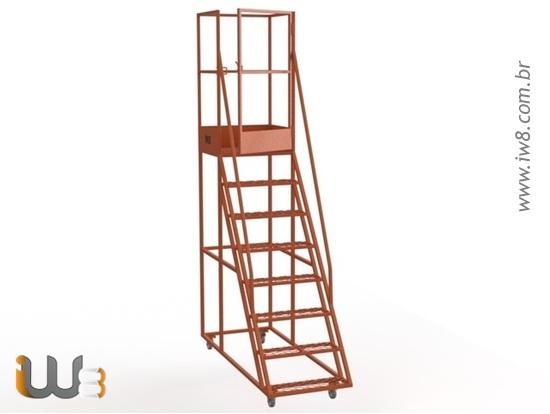 Escada Plataforma para Almoxarifado com Rodizio