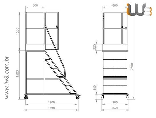 Escada Plataforma Quadrada