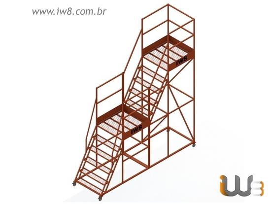 Escadas Plataforma Industrial com Rodas