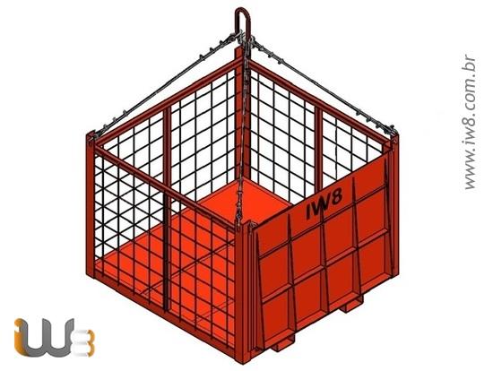 Foto do produto - Gaiola de Aço de 1.0m x 1.0m x 1.0m Cap. 1000kg