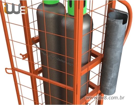 Gaiola para Cilindro Oxigenio com Porta Caneta