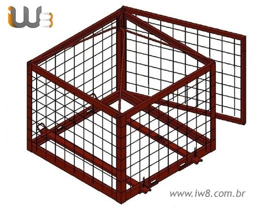 Foto do produto - Gaiola de Pallet 1.40m x 1.4m x 1.2m Cap. 2000kg