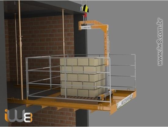 Plataforma Descarga Andares Obra 2,3m x 2,3m Cap 1.500kg