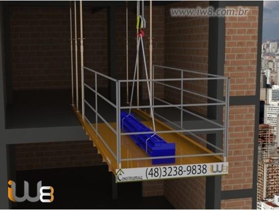 Plataforma Descarga Predio Obra Grua 1,5m x 3,5m Cap 1500kg