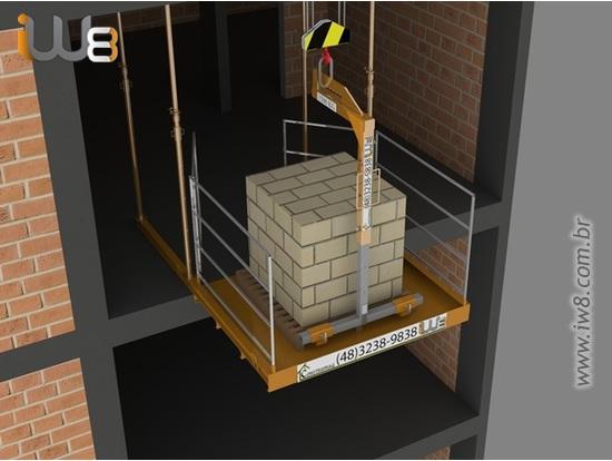 Plataforma Lateral Obra Descarga Grua Andar  1,5m x 2m Cap 1.500kg