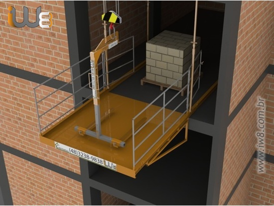 Plataforma para Descarga com Grua 2,3m x 2,3m Cap. 2.000kg