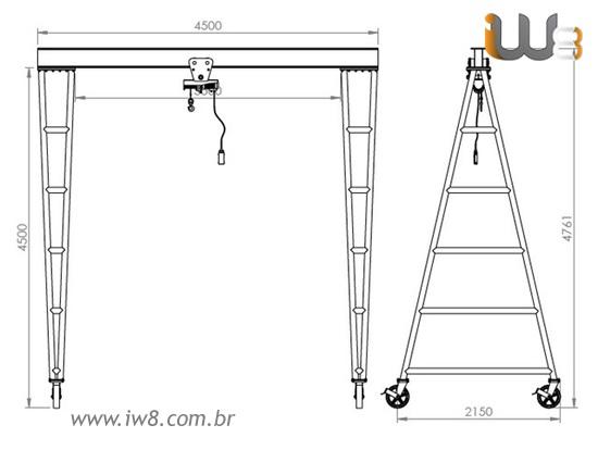 Portico Móvel 5 Toneladas para Talha Elétrica e Manual