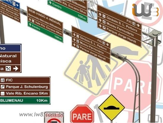 Poste de Sinalização para Placas de Trânsito